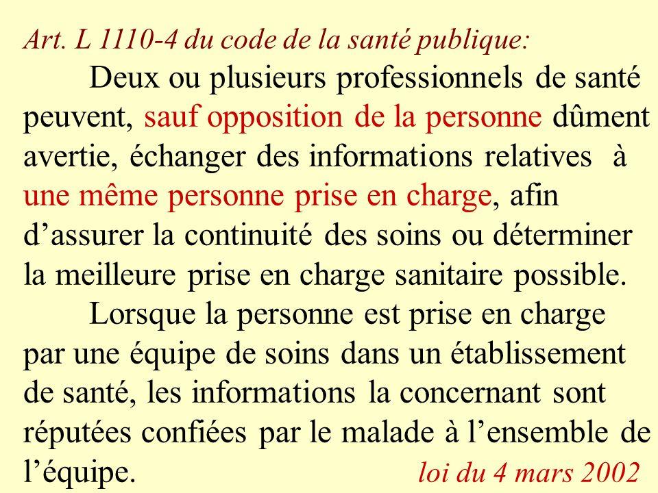 Art. L 1110-4 du code de la santé publique: Deux ou plusieurs professionnels de santé peuvent, sauf opposition de la personne dûment avertie, échanger