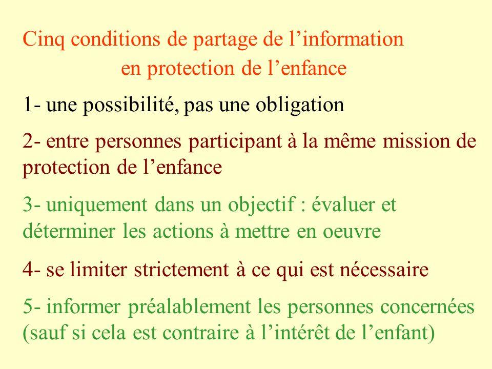 Cinq conditions de partage de linformation en protection de lenfance 1- une possibilité, pas une obligation 2- entre personnes participant à la même m