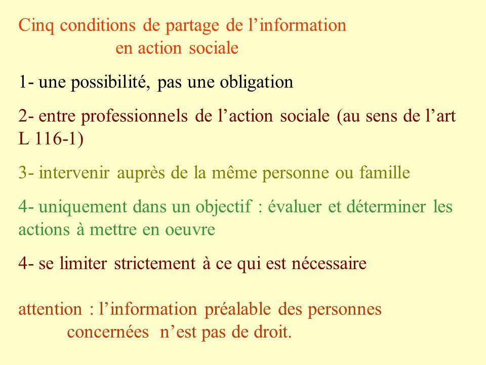 Cinq conditions de partage de linformation en action sociale 1- une possibilité, pas une obligation 2- entre professionnels de laction sociale (au sen