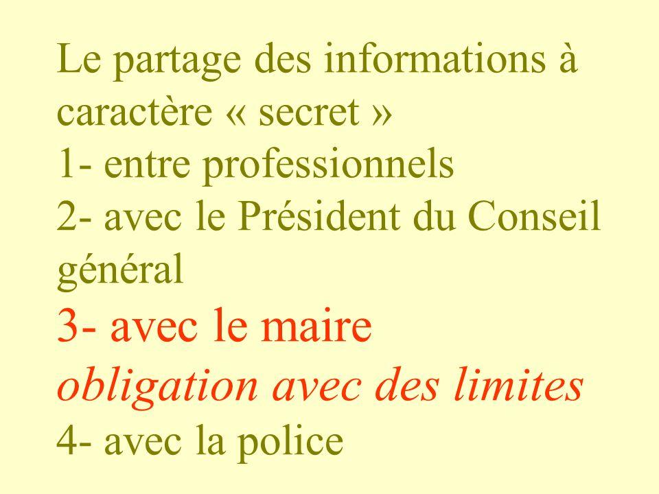 Le partage des informations à caractère « secret » 1- entre professionnels 2- avec le Président du Conseil général 3- avec le maire obligation avec de