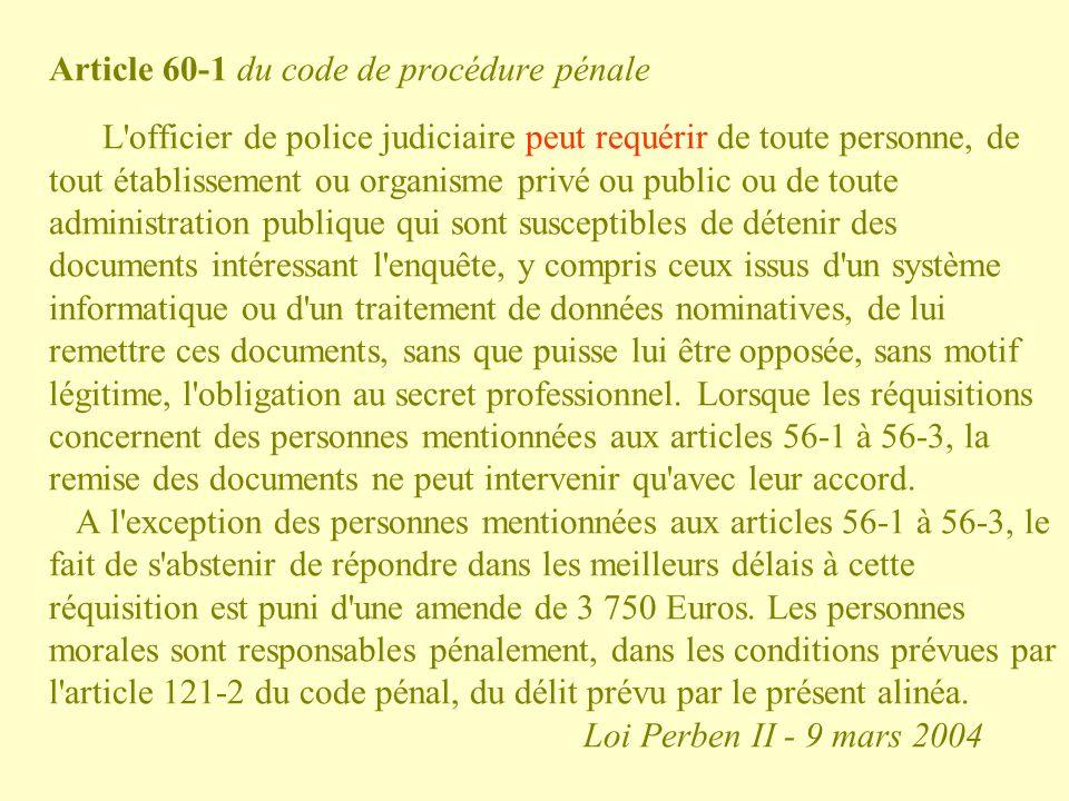 Article 60-1 du code de procédure pénale L'officier de police judiciaire peut requérir de toute personne, de tout établissement ou organisme privé ou