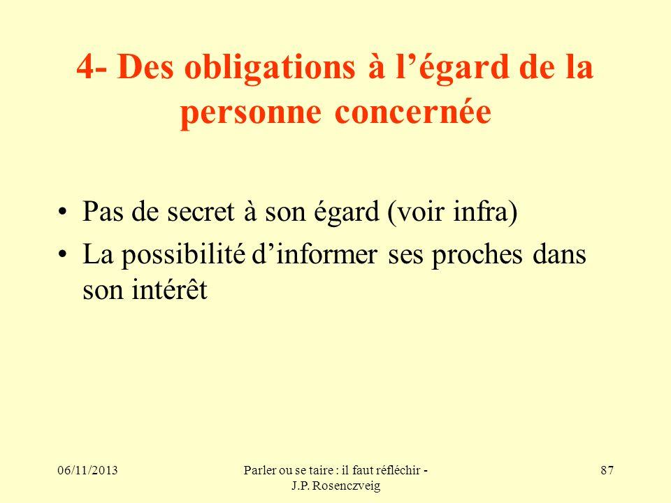 06/11/2013Parler ou se taire : il faut réfléchir - J.P. Rosenczveig 87 4- Des obligations à légard de la personne concernée Pas de secret à son égard