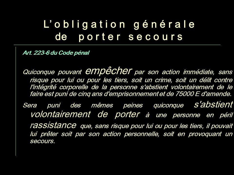 06/11/2013Parler ou se taire : il faut réfléchir - J.P. Rosenczveig 9 L o b l i g a t i o n g é n é r a l e de p o r t e r s e c o u r s Art. 223-6 du