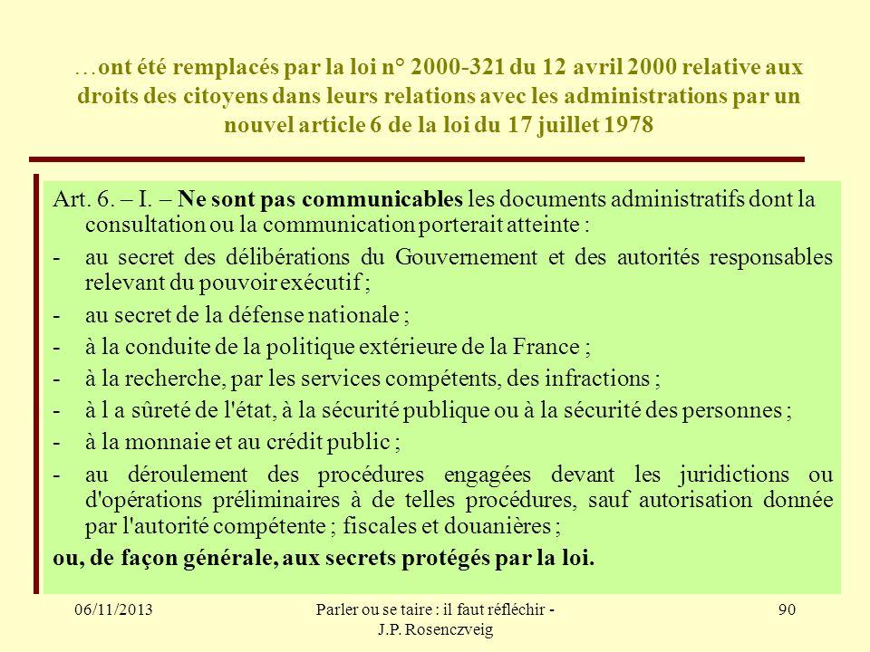 06/11/2013Parler ou se taire : il faut réfléchir - J.P. Rosenczveig 90 …ont été remplacés par la loi n° 2000-321 du 12 avril 2000 relative aux droits