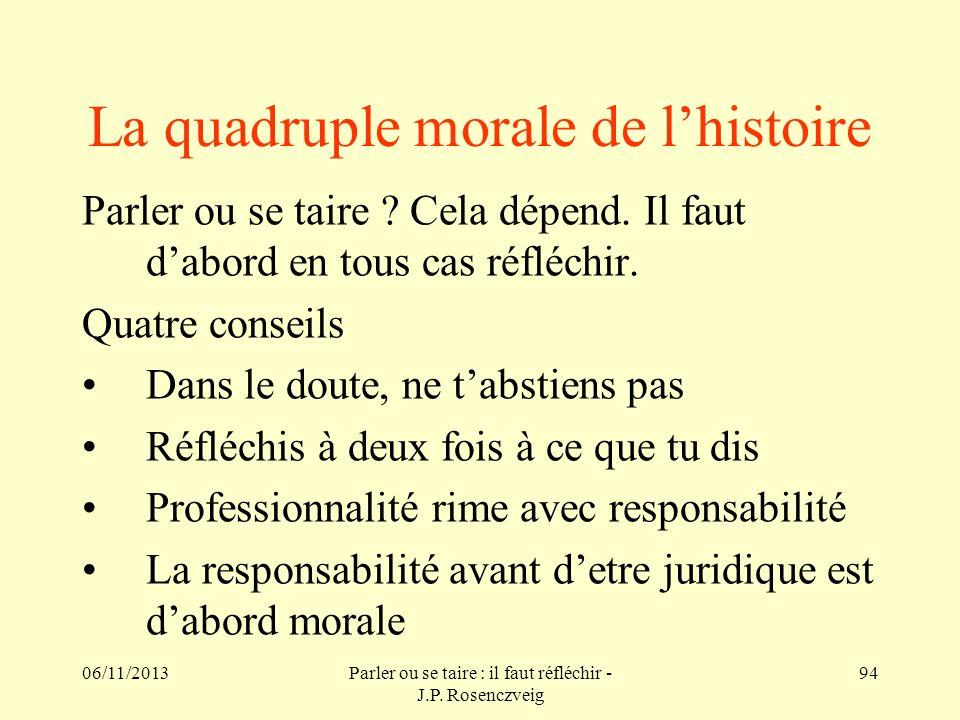 06/11/2013Parler ou se taire : il faut réfléchir - J.P. Rosenczveig 94 La quadruple morale de lhistoire Parler ou se taire ? Cela dépend. Il faut dabo