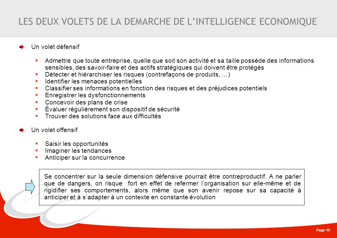 Page 10 LES DEUX VOLETS DE LA DEMARCHE DE LINTELLIGENCE ECONOMIQUE Un volet défensif Admettre que toute entreprise, quelle que soit son activité et sa