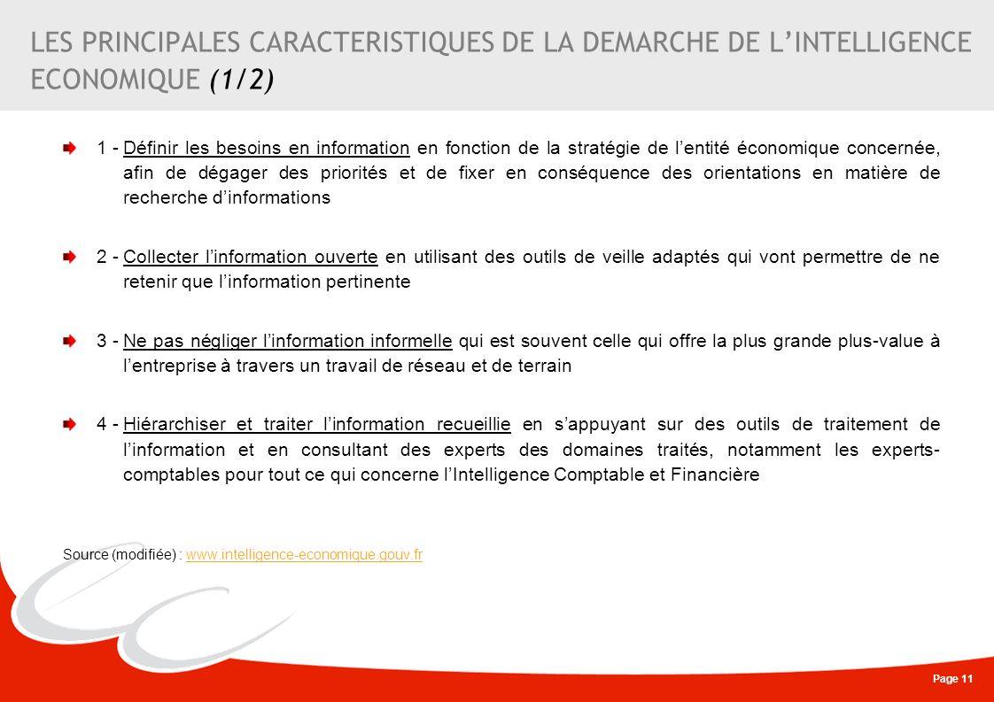 Page 11 LES PRINCIPALES CARACTERISTIQUES DE LA DEMARCHE DE LINTELLIGENCE ECONOMIQUE (1/2) 1 -Définir les besoins en information en fonction de la stra