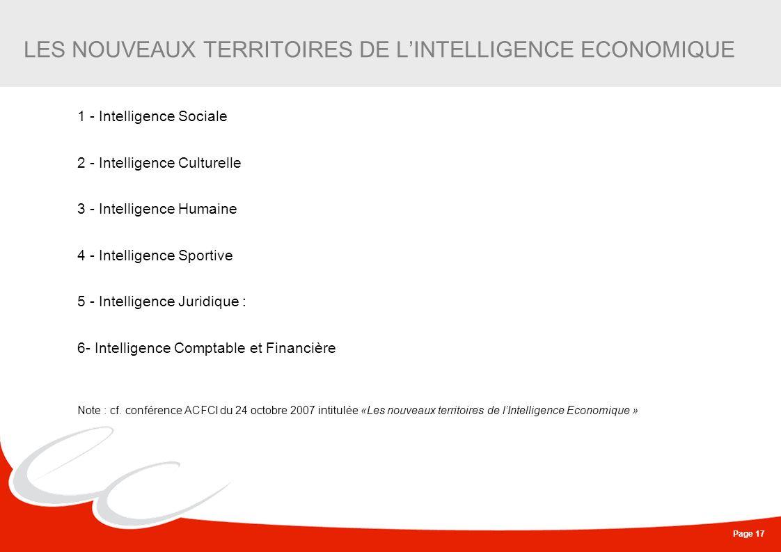 Page 17 LES NOUVEAUX TERRITOIRES DE LINTELLIGENCE ECONOMIQUE 1 - Intelligence Sociale 2 - Intelligence Culturelle 3 - Intelligence Humaine 4 - Intelli