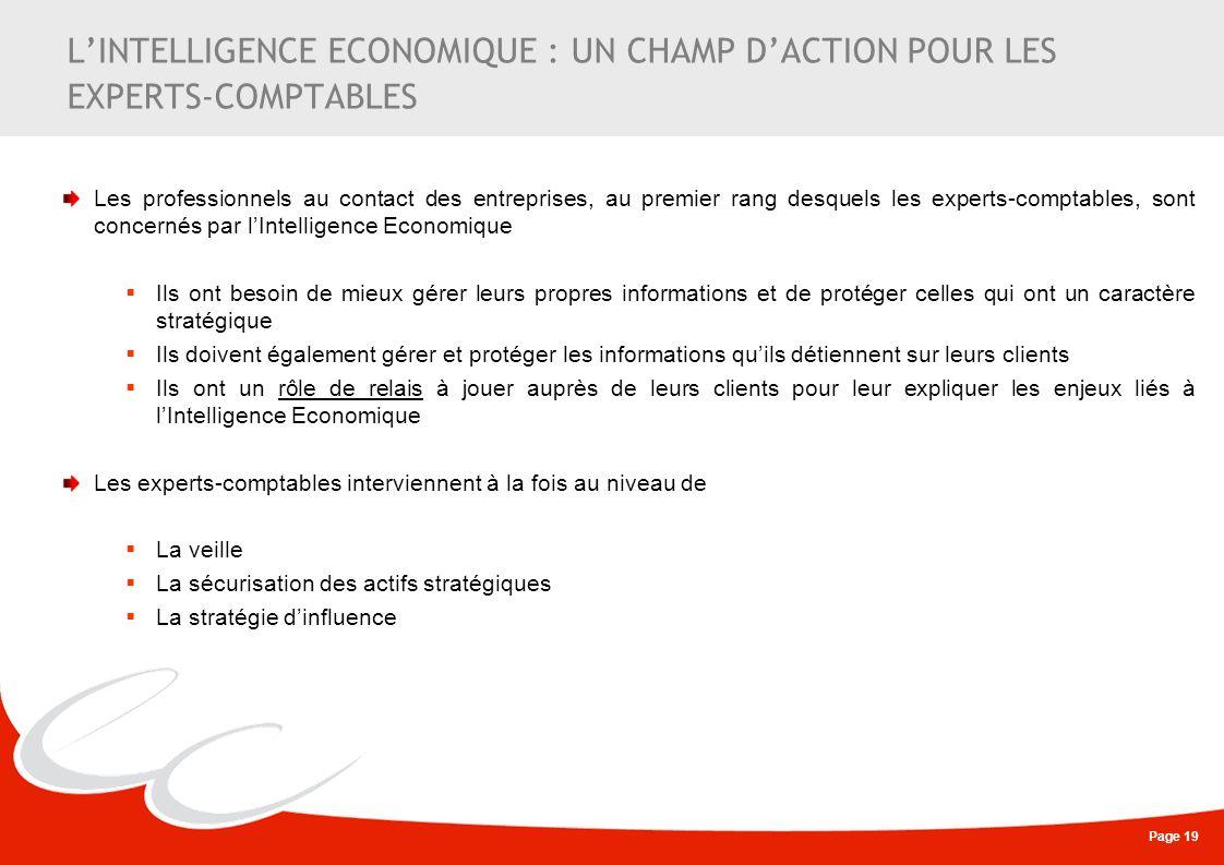 Page 19 LINTELLIGENCE ECONOMIQUE : UN CHAMP DACTION POUR LES EXPERTS-COMPTABLES Les professionnels au contact des entreprises, au premier rang desquel