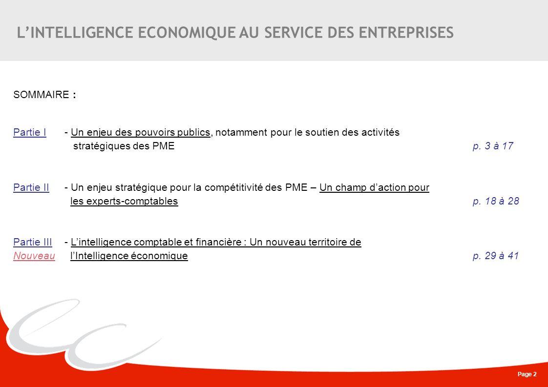 Page 23 LE ROLE OPERATIONNEL DES EXPERTS-COMPTABLES AUPRES DES PME, EN PARTENARIAT AVEC LES POUVOIRS PUBLICS Un questionnaire (1) a été établi par le Service de Coordination à lIntelligence Economique (SCIE) du Ministère de lEconomie, des Finances et de lEmploi ainsi que du Ministère du budget, des comptes publics et de la politique publique, en partenariat avec le Conseil Supérieur de lOrdre des Experts- Comptables, représenté par Agnès Bricard, Présidente du Club Secteur Public et en charge de lIntelligence Economique.