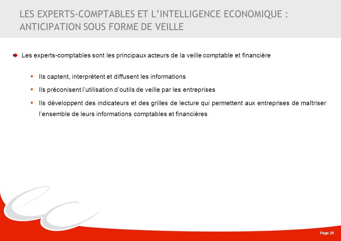 Page 20 LES EXPERTS-COMPTABLES ET LINTELLIGENCE ECONOMIQUE : ANTICIPATION SOUS FORME DE VEILLE Les experts-comptables sont les principaux acteurs de l