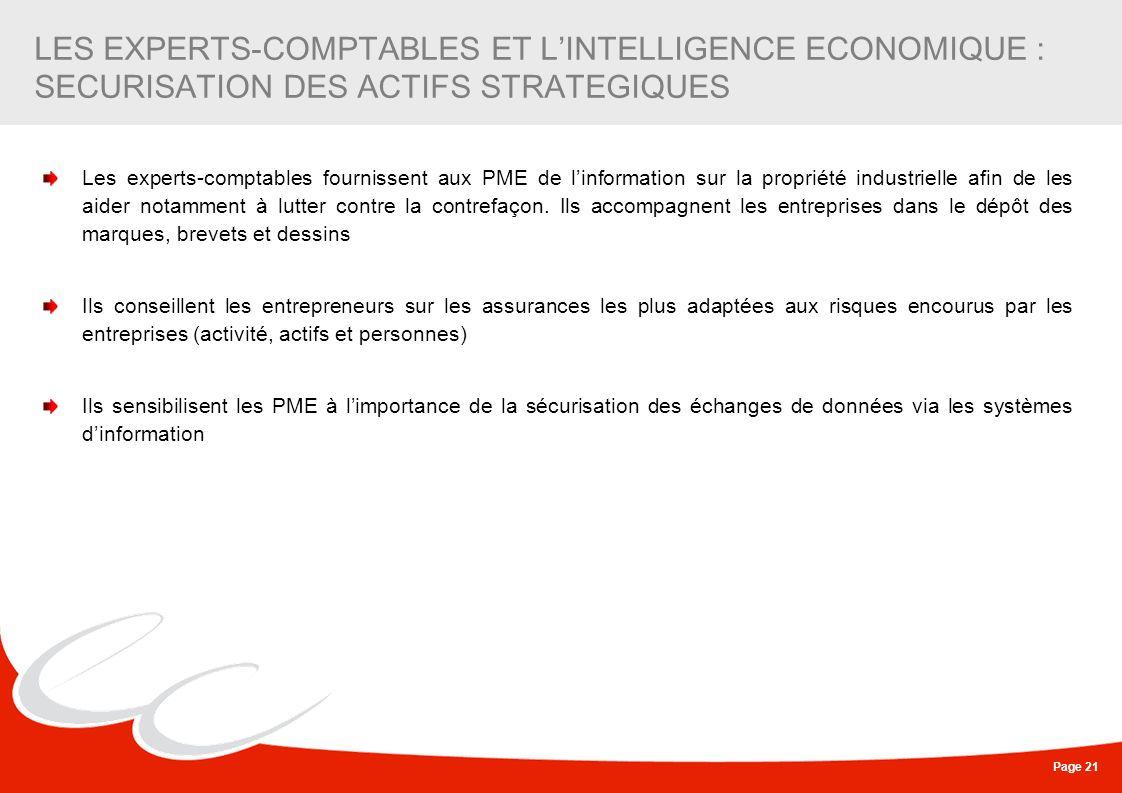 Page 21 LES EXPERTS-COMPTABLES ET LINTELLIGENCE ECONOMIQUE : SECURISATION DES ACTIFS STRATEGIQUES Les experts-comptables fournissent aux PME de linfor