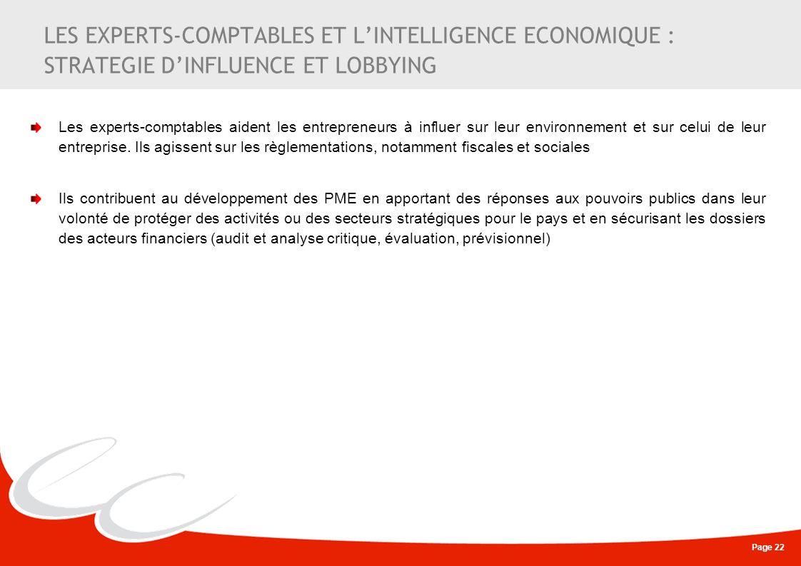 Page 22 LES EXPERTS-COMPTABLES ET LINTELLIGENCE ECONOMIQUE : STRATEGIE DINFLUENCE ET LOBBYING Les experts-comptables aident les entrepreneurs à influe
