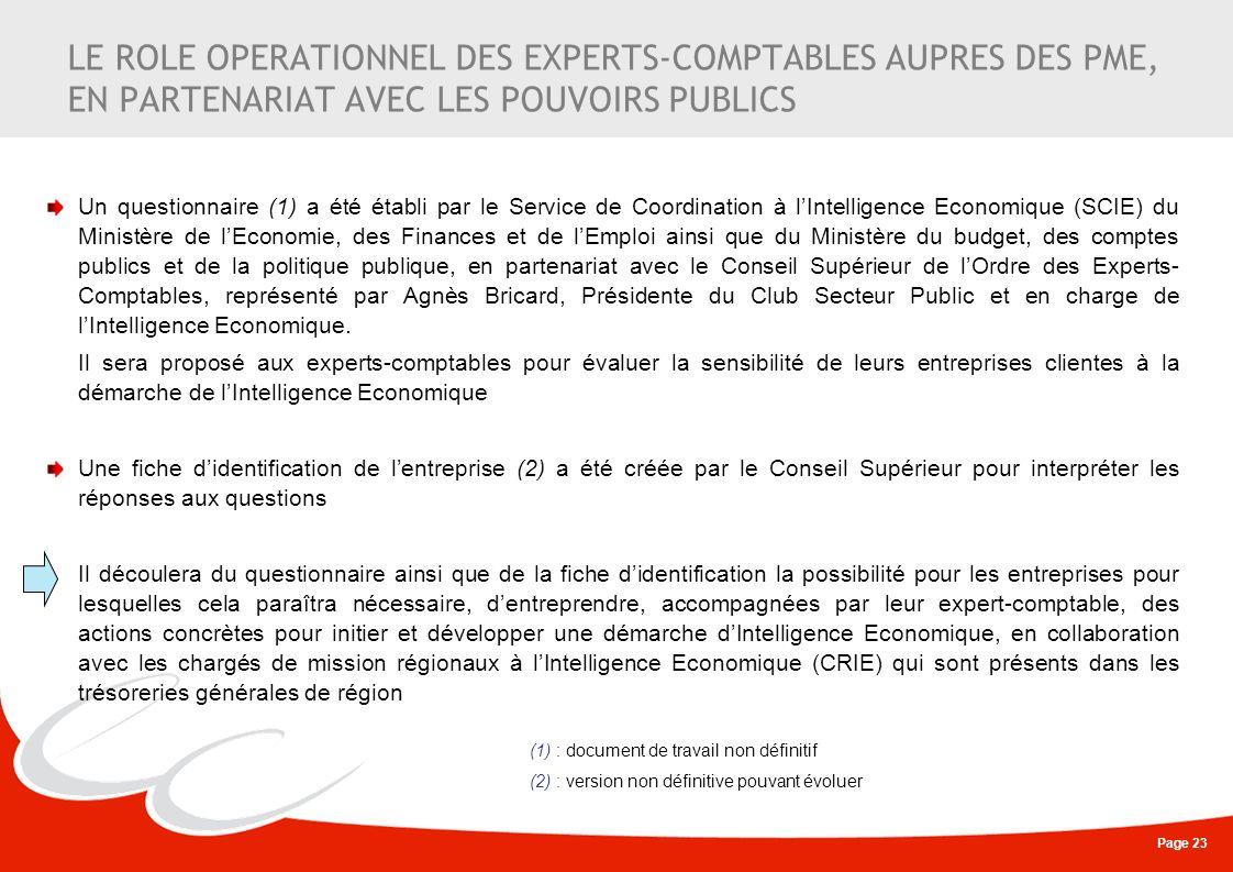 Page 23 LE ROLE OPERATIONNEL DES EXPERTS-COMPTABLES AUPRES DES PME, EN PARTENARIAT AVEC LES POUVOIRS PUBLICS Un questionnaire (1) a été établi par le