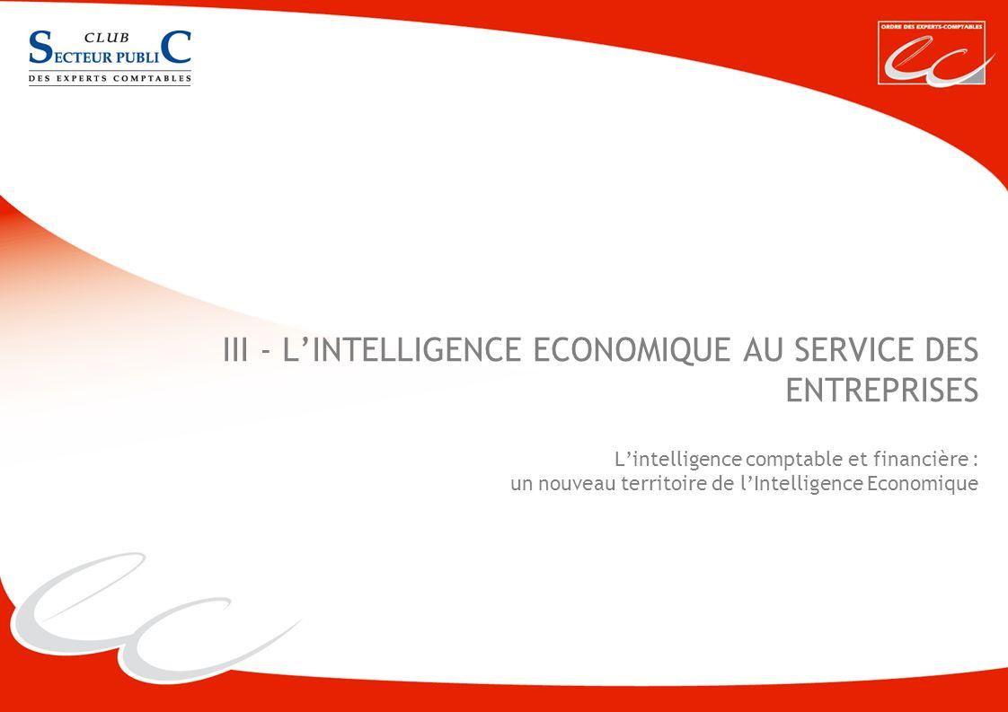 CREATIVE WORK III - LINTELLIGENCE ECONOMIQUE AU SERVICE DES ENTREPRISES Lintelligence comptable et financière : un nouveau territoire de lIntelligence