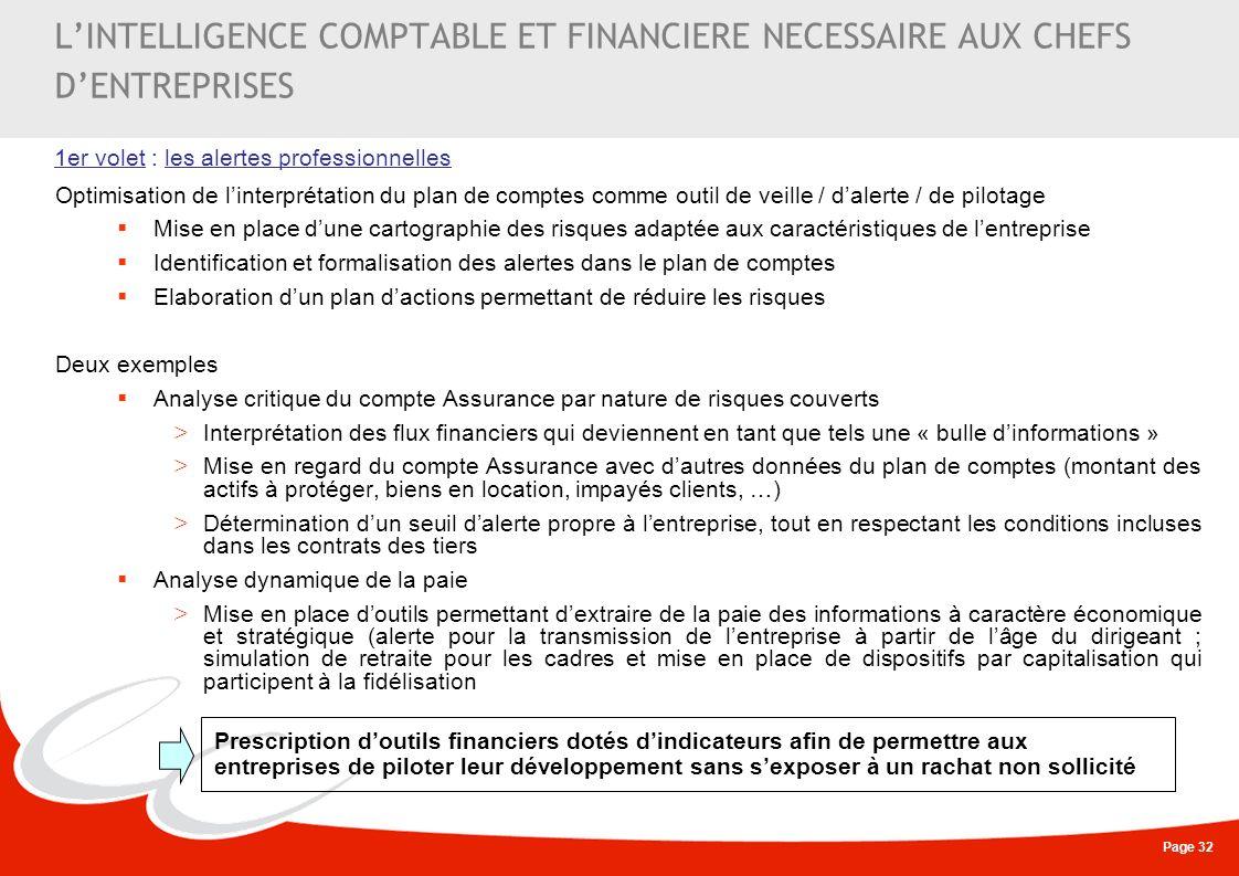 Page 32 LINTELLIGENCE COMPTABLE ET FINANCIERE NECESSAIRE AUX CHEFS DENTREPRISES Optimisation de linterprétation du plan de comptes comme outil de veil