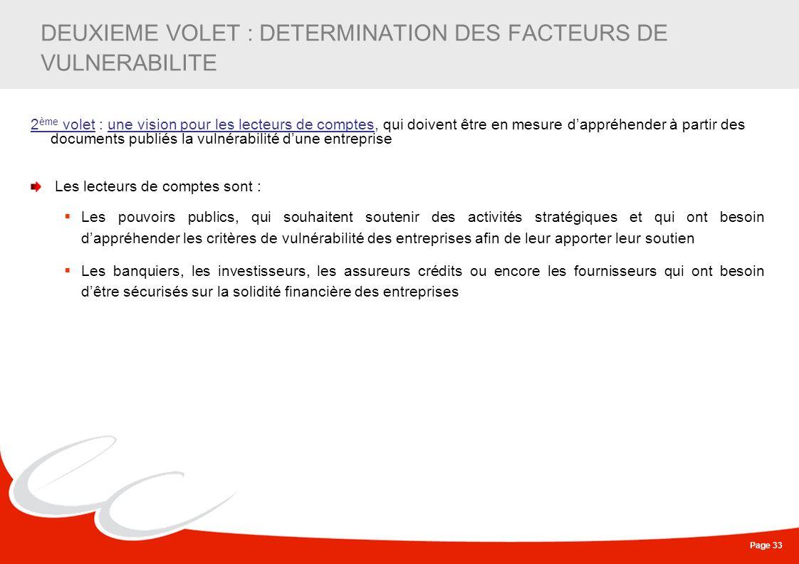 Page 33 DEUXIEME VOLET : DETERMINATION DES FACTEURS DE VULNERABILITE 2 ème volet : une vision pour les lecteurs de comptes, qui doivent être en mesure