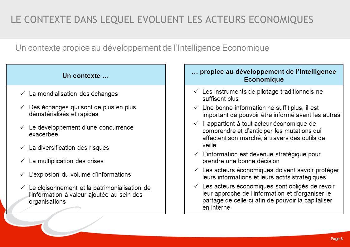 Page 6 LE CONTEXTE DANS LEQUEL EVOLUENT LES ACTEURS ECONOMIQUES Un contexte … … propice au développement de lIntelligence Economique Les instruments d