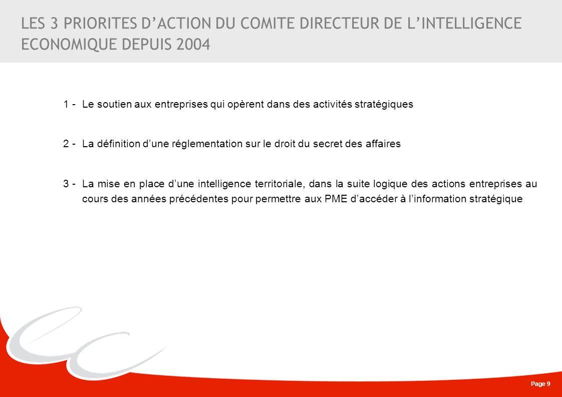Page 9 LES 3 PRIORITES DACTION DU COMITE DIRECTEUR DE LINTELLIGENCE ECONOMIQUE DEPUIS 2004 1 - Le soutien aux entreprises qui opèrent dans des activit