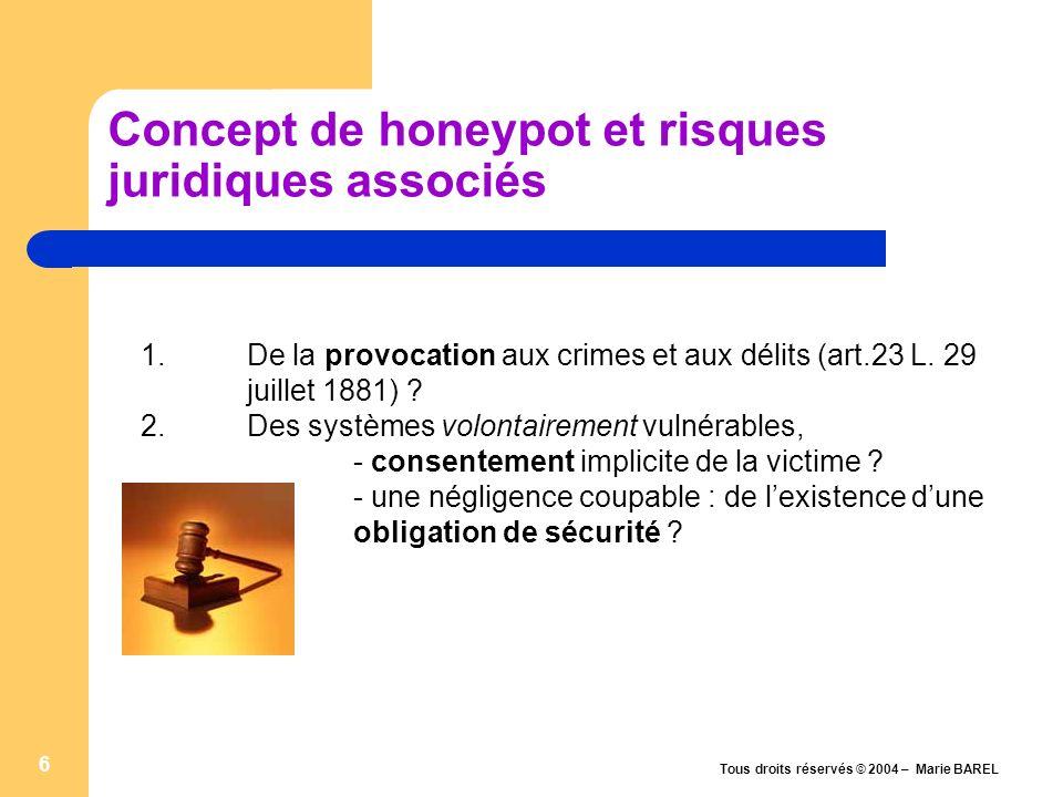Tous droits réservés © 2004 – Marie BAREL 7 FAQs : honeypot et incitation Re: Les « pots de miel » sont-ils légaux .