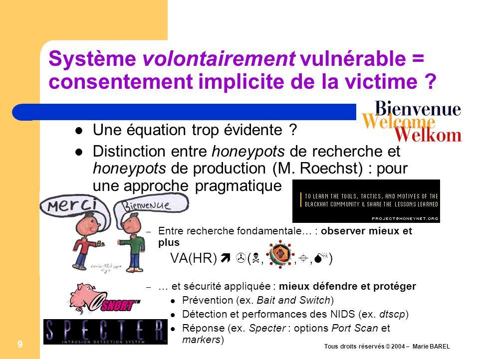 Tous droits réservés © 2004 – Marie BAREL 10 Système volontairement vulnérable : une négligence coupable .