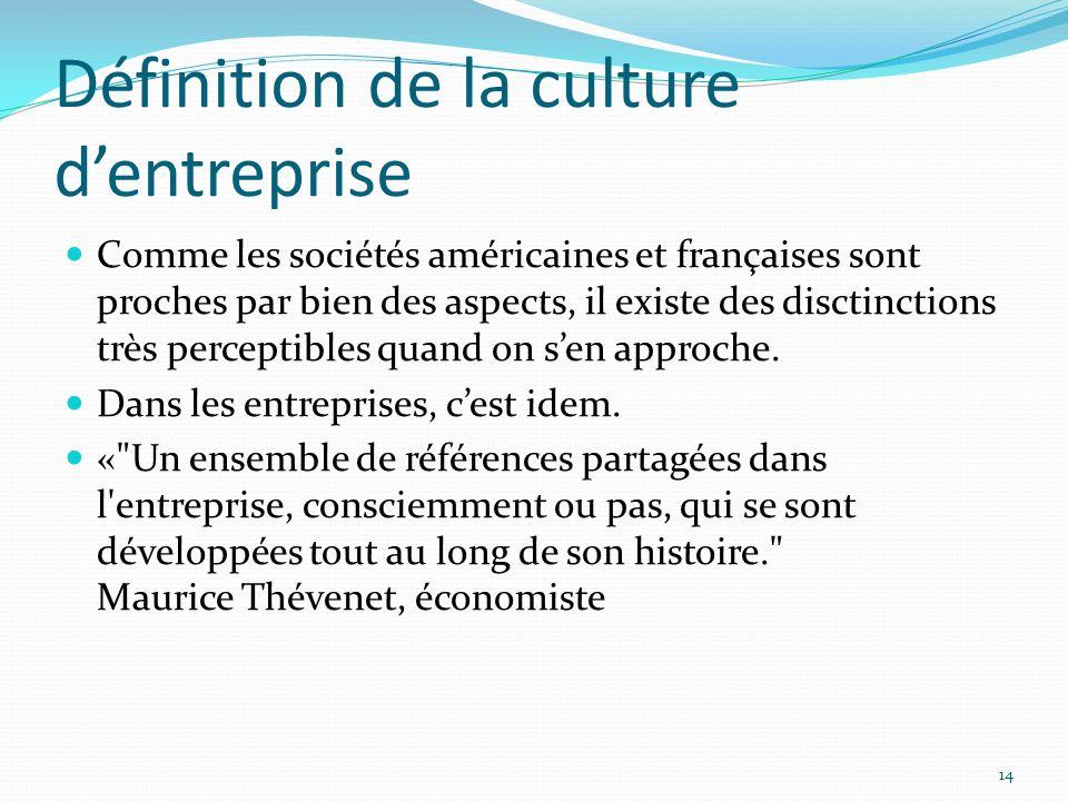 Définition de la culture dentreprise Comme les sociétés américaines et françaises sont proches par bien des aspects, il existe des disctinctions très perceptibles quand on sen approche.