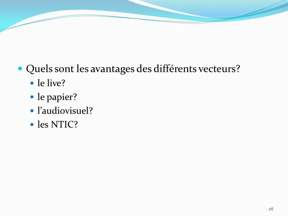 Quels sont les avantages des différents vecteurs? le live? le papier? laudiovisuel? les NTIC? 26