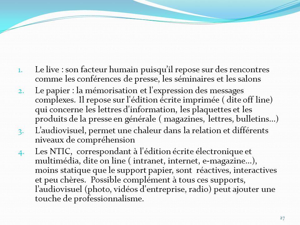 1. Le live : son facteur humain puisquil repose sur des rencontres comme les conférences de presse, les séminaires et les salons 2. Le papier : la mém