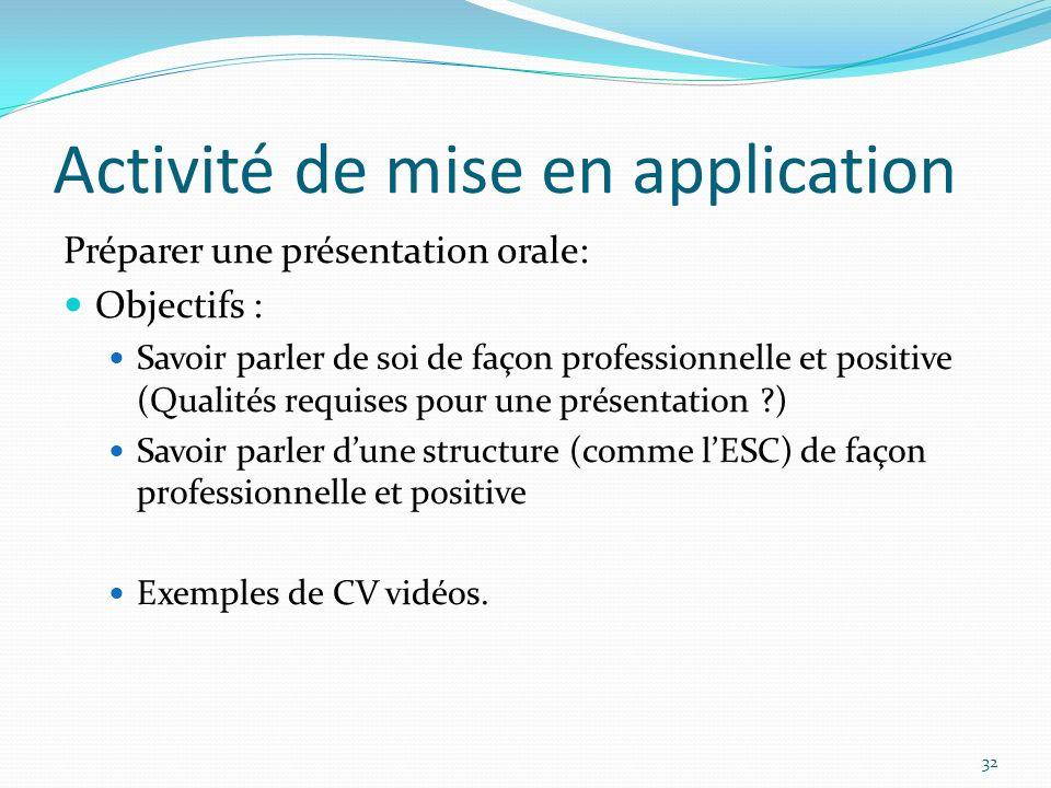 Activité de mise en application Préparer une présentation orale: Objectifs : Savoir parler de soi de façon professionnelle et positive (Qualités requises pour une présentation ?) Savoir parler dune structure (comme lESC) de façon professionnelle et positive Exemples de CV vidéos.