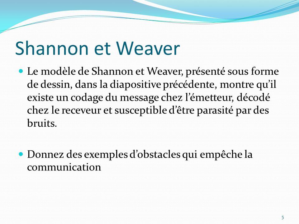 Shannon et Weaver Le modèle de Shannon et Weaver, présenté sous forme de dessin, dans la diapositive précédente, montre quil existe un codage du message chez lémetteur, décodé chez le receveur et susceptible dêtre parasité par des bruits.