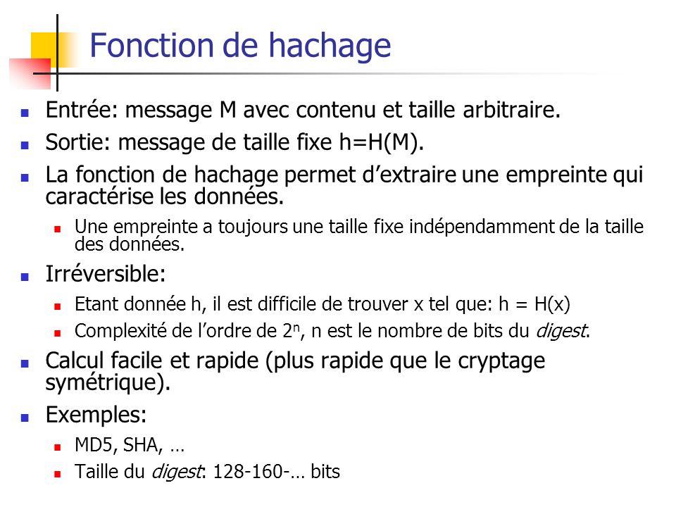 Fonction de hachage Entrée: message M avec contenu et taille arbitraire. Sortie: message de taille fixe h=H(M). La fonction de hachage permet dextrair