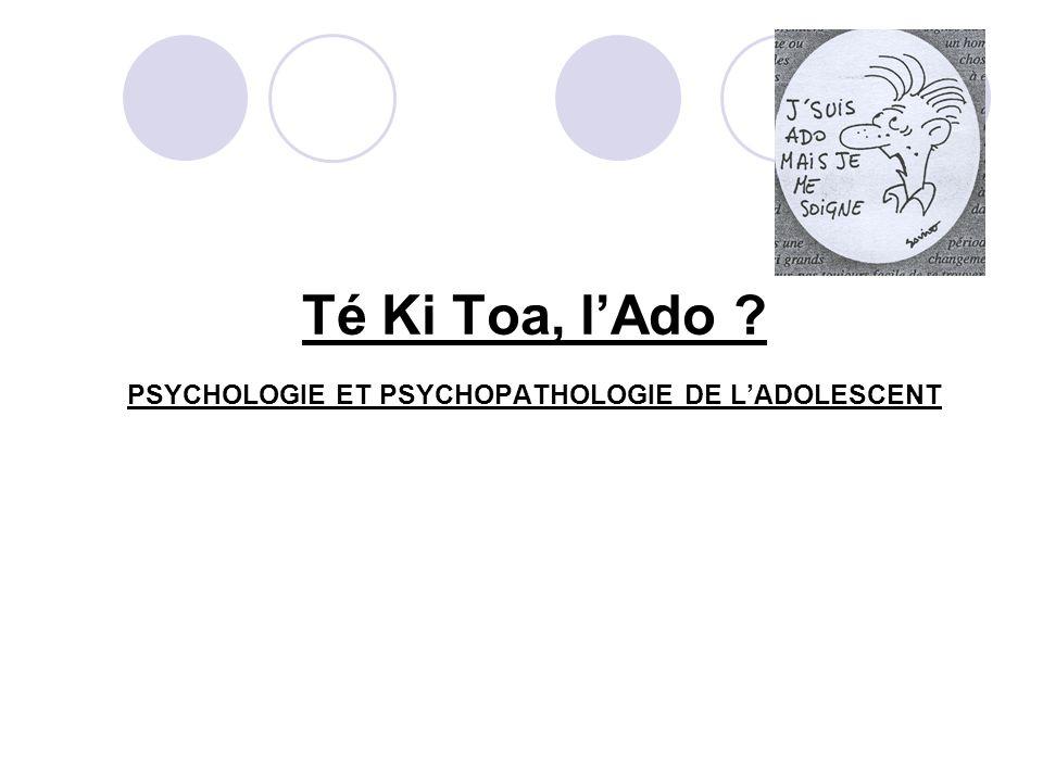PSYCHOLOGIE ET PSYCHOPATHOLOGIE DE LADOLESCENT PLAN : A.