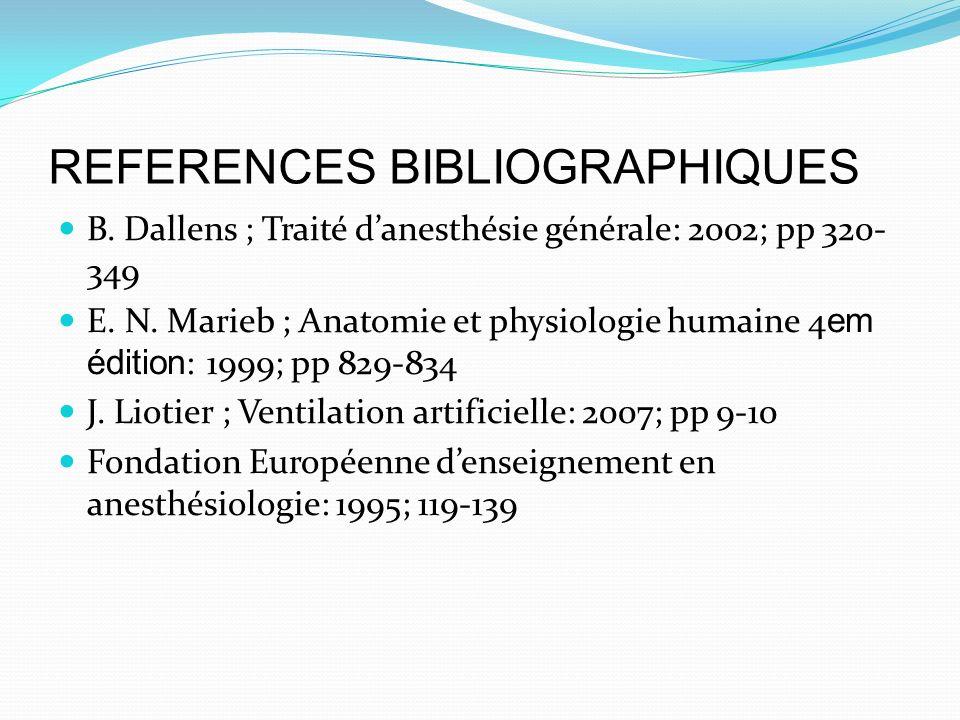 REFERENCES BIBLIOGRAPHIQUES B. Dallens ; Traité danesthésie générale: 2002; pp 320- 349 E. N. Marieb ; Anatomie et physiologie humaine 4 em édition :