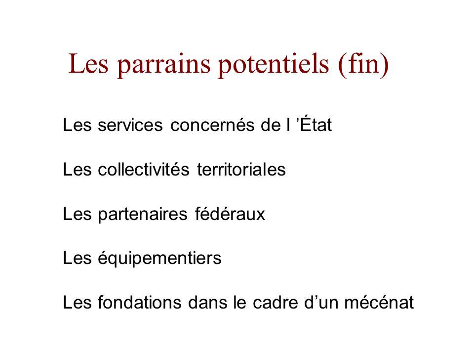 Les parrains potentiels (fin) Les services concernés de l État Les collectivités territoriales Les partenaires fédéraux Les équipementiers Les fondati