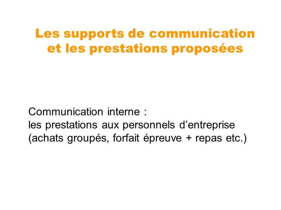 Communication interne : les prestations aux personnels dentreprise (achats groupés, forfait épreuve + repas etc.) Les supports de communication et les