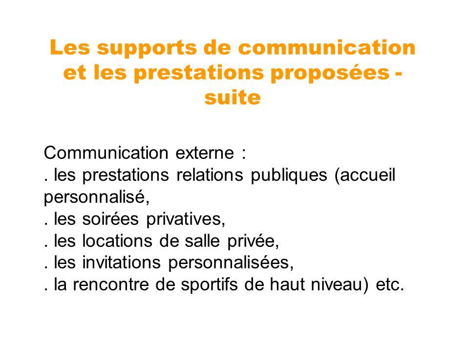 Communication externe :. les prestations relations publiques (accueil personnalisé,. les soirées privatives,. les locations de salle privée,. les invi