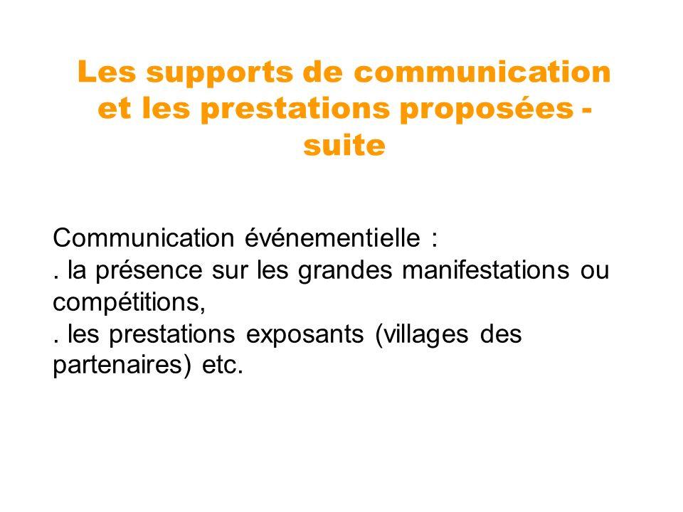 Communication événementielle :. la présence sur les grandes manifestations ou compétitions,. les prestations exposants (villages des partenaires) etc.