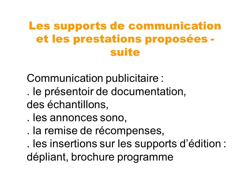 Communication publicitaire :. le présentoir de documentation, des échantillons,. les annonces sono,. la remise de récompenses,. les insertions sur les
