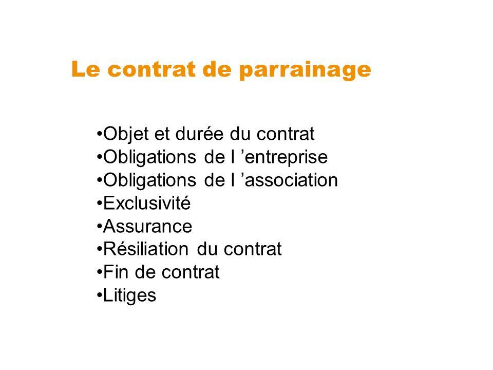 Le contrat de parrainage Objet et durée du contrat Obligations de l entreprise Obligations de l association Exclusivité Assurance Résiliation du contr