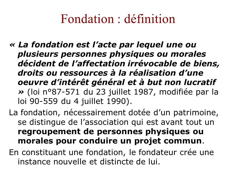Fondation : définition « La fondation est lacte par lequel une ou plusieurs personnes physiques ou morales décident de laffectation irrévocable de bie