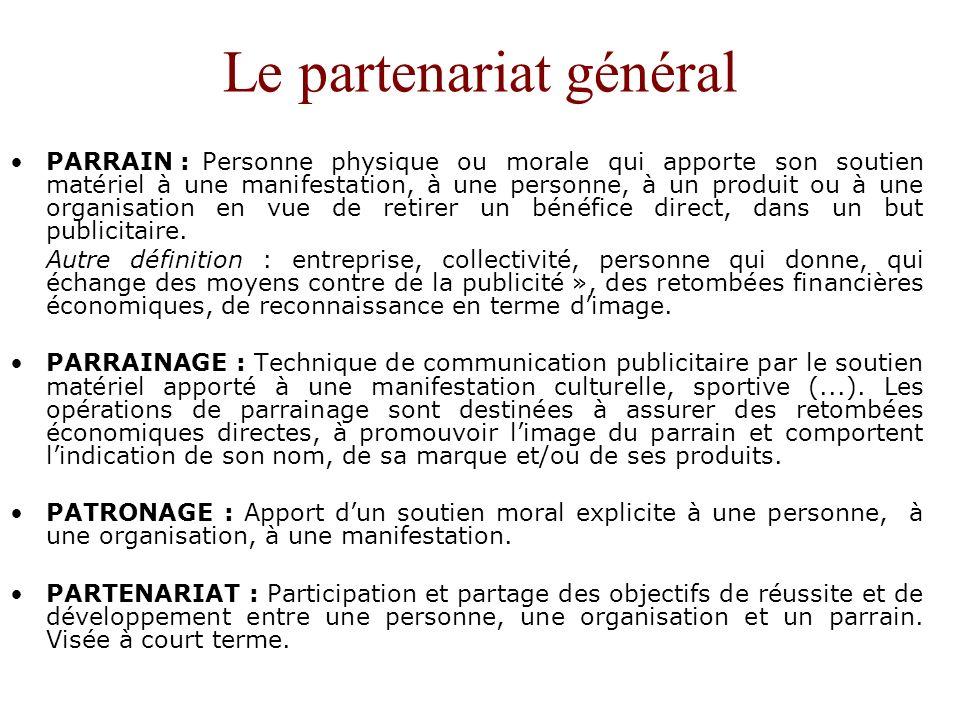 Le partenariat général PARRAIN : Personne physique ou morale qui apporte son soutien matériel à une manifestation, à une personne, à un produit ou à u