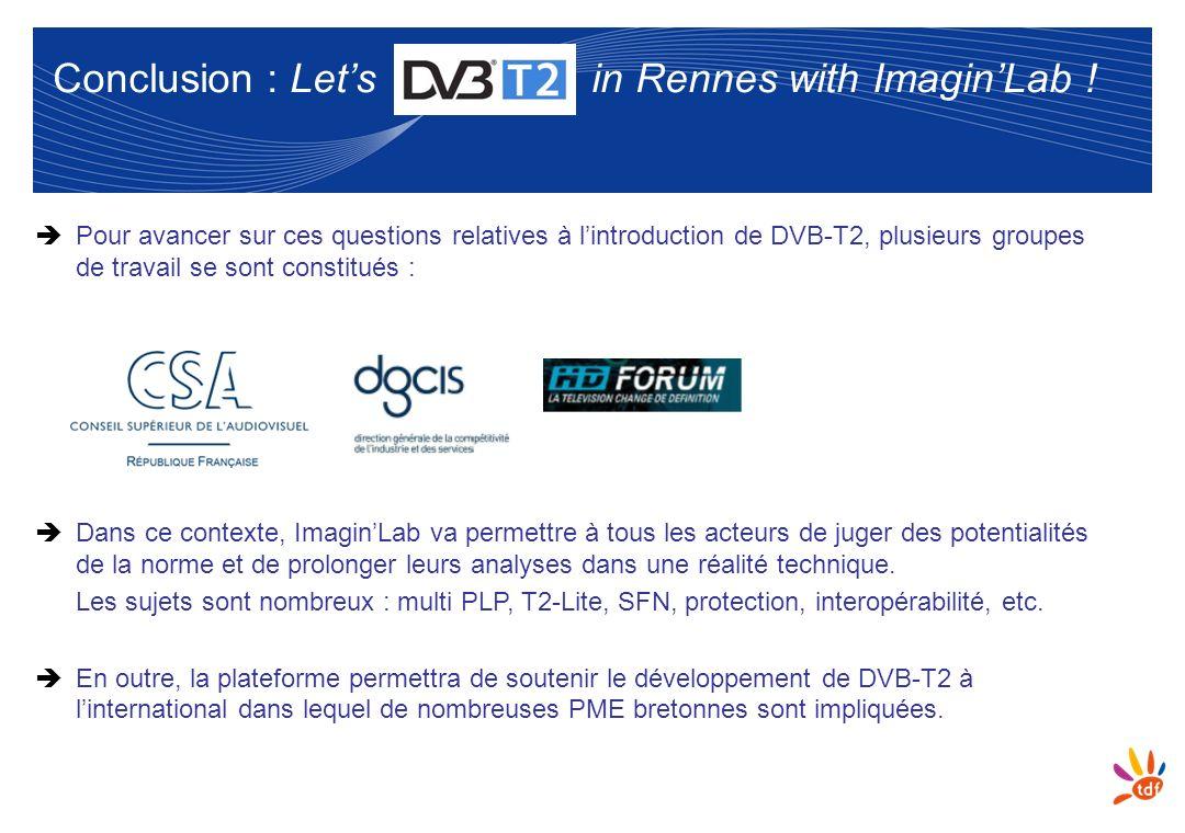 10 Conclusion : Lets in Rennes with ImaginLab ! Pour avancer sur ces questions relatives à lintroduction de DVB-T2, plusieurs groupes de travail se so