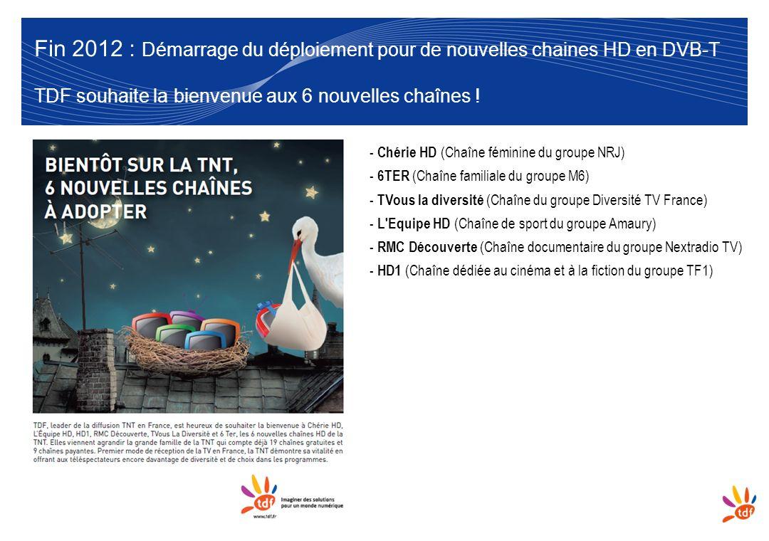 6 Fin 2012 : Démarrage du déploiement pour de nouvelles chaines HD en DVB-T TDF souhaite la bienvenue aux 6 nouvelles chaînes ! - Chérie HD (Chaîne fé