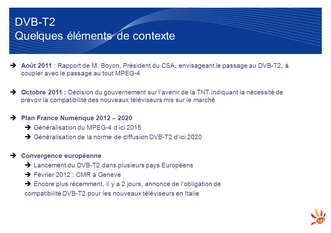 8 DVB-T2 Quelques éléments de contexte Août 2011 : Rapport de M. Boyon, Président du CSA, envisageant le passage au DVB-T2, à coupler avec le passage