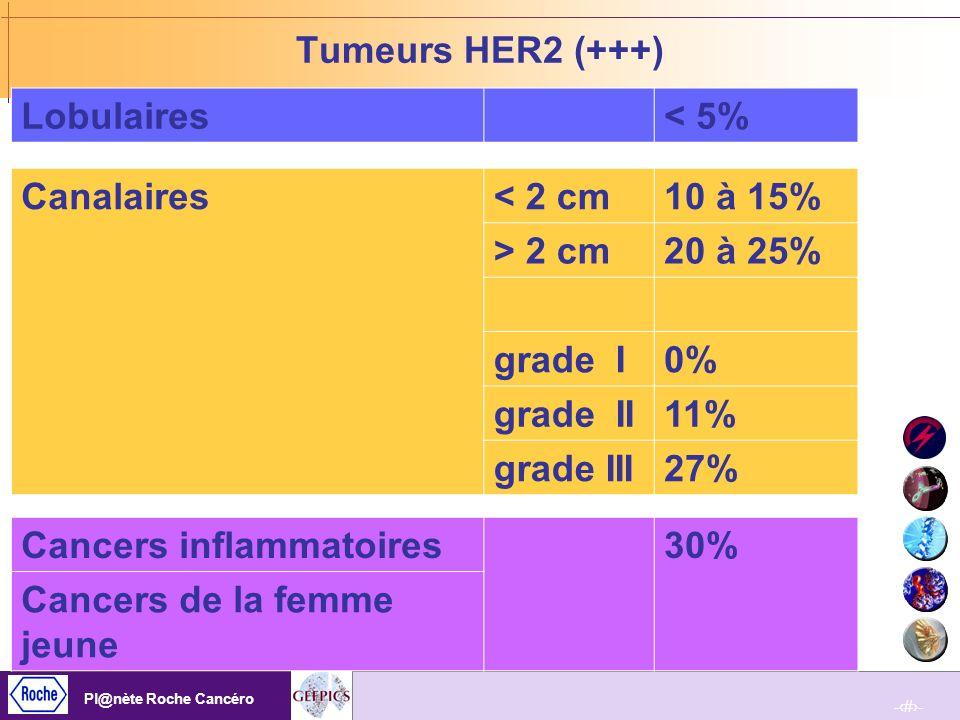 -15- Pl@nète Roche Cancéro -15- Pl@nète Roche Cancéro Cible des traitements anti HER-2 = protéine HER-2 exprimée à un haut niveau (IHC 3+) Surexpression à haut niveau d HER-2 (3+) = liée à l amplification du gène Les surreprésentations donnent des hyperexpressions de faible niveau Leur réponse au traitement n est pas connue Objectif : détection des hyperexpressions/amplifications vraies Amplification Surexpression x10