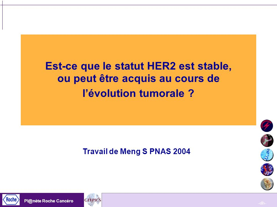 -99- Pl@nète Roche Cancéro -99- Pl@nète Roche Cancéro Plusieurs hypothèses se discutent : –soit le statut HER2 na pas été correctement évalué dans la tumeur initiale (problème technique, problème de fixation tissulaire) –soit la CTC présente surtout une hyperploïdie du chromosome 17 entraînant essentiellement une sur représentation de HER2, ce qui expliquerait ces valeurs limites damplification ; – soit la cellule métastatique acquiert vraiment une amplification de HER2, par sélection dun clone HER2+ lors des nombreux traitements reçus par ces patientes pour certaines en phase terminale Pourquoi les CTC présentent elles des niveaux damplification si bas ?