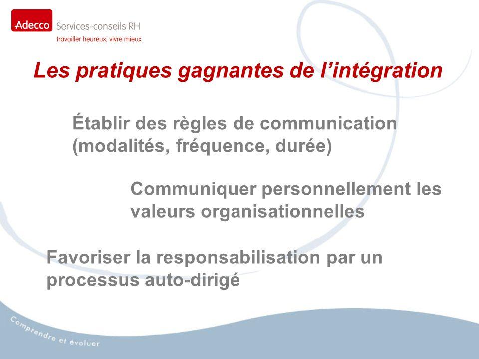 Les pratiques gagnantes de lintégration Établir des règles de communication (modalités, fréquence, durée) Communiquer personnellement les valeurs organisationnelles Favoriser la responsabilisation par un processus auto-dirigé
