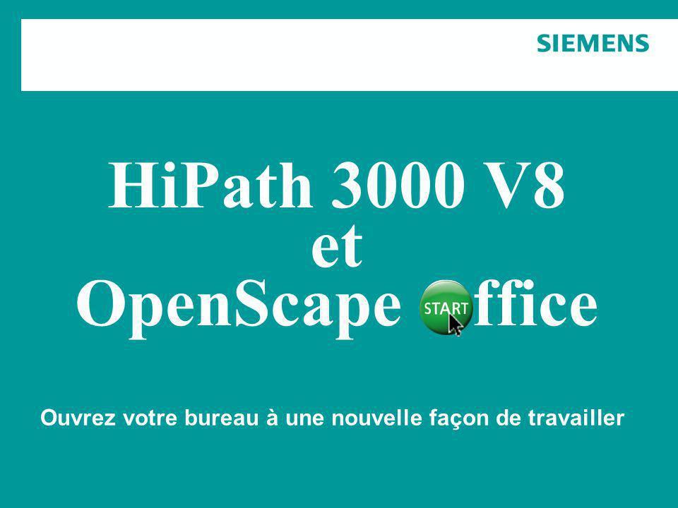 Copyright © Siemens Enterprise Communications GmbH & Co. KG 2009 HiPath 3000 V8 et OpenScape Office Ouvrez votre bureau à une nouvelle façon de travai