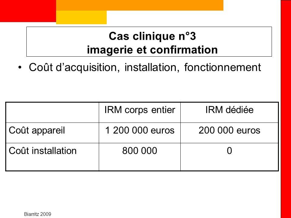 Biarritz 2009 Cas clinique n°3 imagerie et confirmation Coût dacquisition, installation, fonctionnement IRM corps entierIRM dédiée Coût appareil1 200