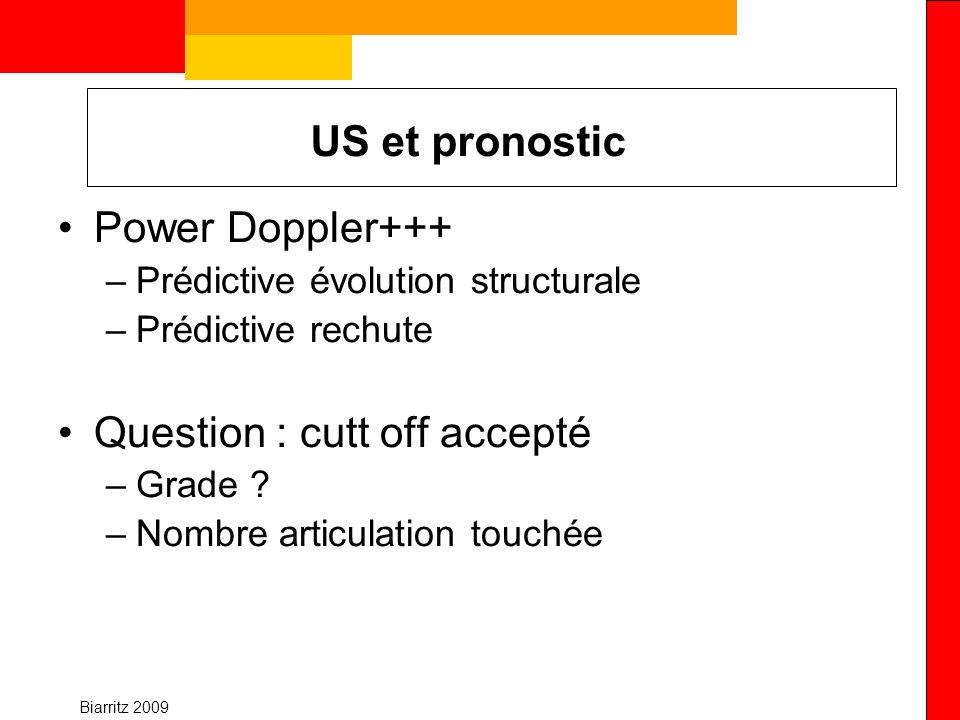 Biarritz 2009 US et pronostic Power Doppler+++ –Prédictive évolution structurale –Prédictive rechute Question : cutt off accepté –Grade ? –Nombre arti